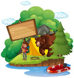 Board template with camper and bear Royalty Free Stock Image