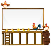Board template with chickens and barrels Stock Photo