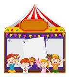 Board template with kids playing puppets. Illustration Royalty Free Stock Photography