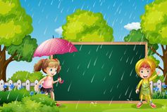 Board template with kids in the rain. Illustration Royalty Free Stock Images