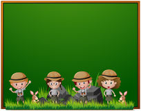 Board template with kids in safari outfit Royalty Free Stock Photo