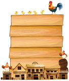 Board template with western town and chickens Royalty Free Stock Photos
