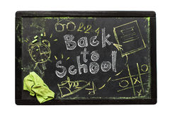 Board Text Concept Back to School Sketch Symbol. Board with Chalk Sketch Text Sign or Symbols of Concept Back to School Chalkboard Dark Background Isolated on Stock Image