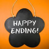 Board. With the text: Happy ending Royalty Free Stock Images