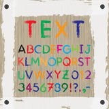 Board for text and images. Font. Alphabet. Stock Image