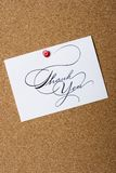 Board with thank you card Royalty Free Stock Photo