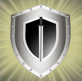 Board with we throw a safety symbol. On the image the safety symbol a board and a sword is presented Stock Image