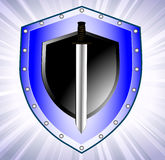 Board with we throw a safety symbol. On the image the safety symbol a board and a sword is presented Stock Images