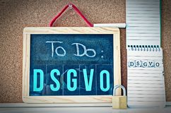 Board To Do DSGVO General Data Protection Regulation in English To Do GDPR General Data Protection Regulation with a laptop an. D padlock for the introduction of royalty free stock images