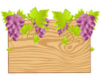 Board twining grape. Wooden board with grape on white background is insulated Royalty Free Stock Photos