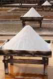 Board unprocessed salt. Salt board and unprocessed salt in a terrace from a tradicional mine located in Rio Maior - Portugal Stock Photos