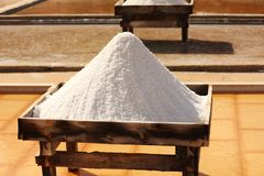 Board unprocessed salt. Salt board and unprocessed salt in a terrace from a tradicional mine located in Rio Maior - Portugal Royalty Free Stock Photos