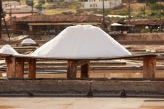 Board unprocessed salt. Salt board and unprocessed salt in a terrace from a tradicional mine located in Rio Maior - Portugal Stock Photography