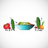 Board of vegetables for salads. Vector design Royalty Free Stock Images