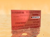 Board in water. With words, associated with business Royalty Free Stock Photo