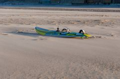 Board of windsurf on a beach. North of France royalty free stock photo
