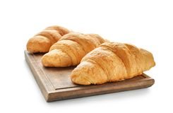 Free Board With Tasty Croissants On White Background Stock Photography - 151220212