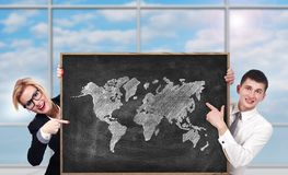 Board with world map Royalty Free Stock Image