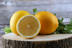 On the board yellow lemons. Vegetables Food Concept and Decoration royalty free stock photo