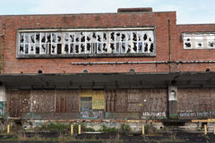 Boarded old industrial premises Royalty Free Stock Image