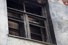 Boarded up burnt windows. Is close royalty free stock photos