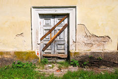 Boarded up entrance. Boarded up old building entrance Royalty Free Stock Images