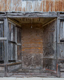 Boarded Up Entry to Sheet Metal Building Royalty Free Stock Photo