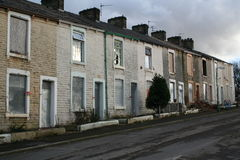 Boarded up homes. Boarded up terraced homed ready to be demolished royalty free stock images