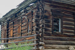 Boarded-up house. An old, abandoned wooden house Stock Photos