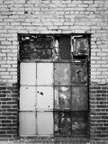 Boarded Up Warehouse Window Stock Images