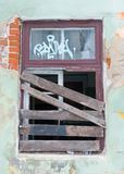 Boarded-up window Stock Image
