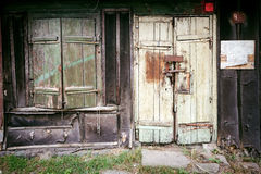 Boarded up window and old door Royalty Free Stock Photos