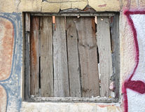 Boarded Window. At Abandoned Ruined Building Royalty Free Stock Images