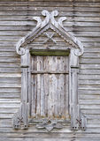 Boarded window of ancient wooden church Royalty Free Stock Images