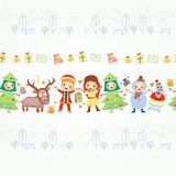 Boarder with children and gifts Royalty Free Stock Images