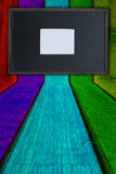 Boarder on color wood background Stock Photos