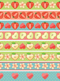 Boarders of Strawberry,Apple,hearts, flowers Stock Images