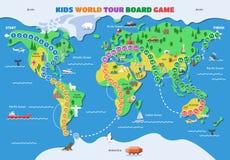 Boardgame de carte de jeu du monde de vecteur de jeu de société avec l'ensemble d'illustration de gameboard de continents d'océan illustration libre de droits