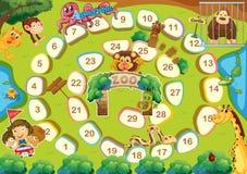 Boardgame do tema do jardim zoológico ilustração stock