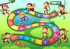 Boardgame with monkeys in different actions Royalty Free Stock Image