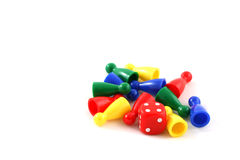 Boardgame pieces. (red, blue, green, yellow royalty free stock image