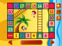 Boardgame template with kids on the beach Royalty Free Stock Photography