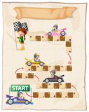 Boardgame template with kids in racing cars Royalty Free Stock Photography