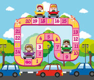 Boardgame template with kids on the road Stock Images