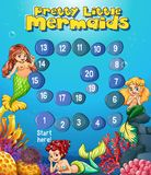 Boardgame template with mermaids under the sea Stock Image