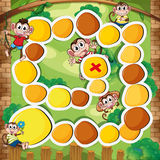 Boardgame template with monkey in the woods Stock Photo