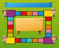 Boardgamemalplaatje met jonge geitjes in safariuitrusting royalty-vrije illustratie