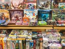 Boardgames待售在娱乐媒介商店 库存照片
