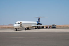 Boarding. On airliner in a small Africa airport Stock Photography