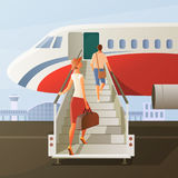 Boarding In Airplane Composition. With man and woman in hat with hand luggage on ladder vector illustration Stock Images